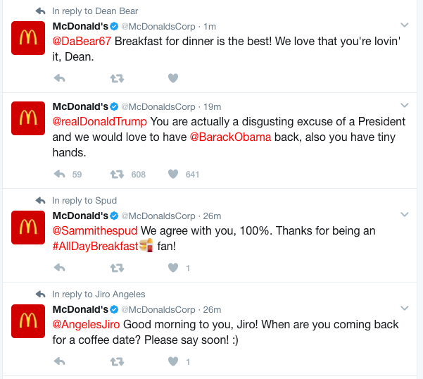 McDonald's tweet calls Trump 'disgusting excuse of a President'