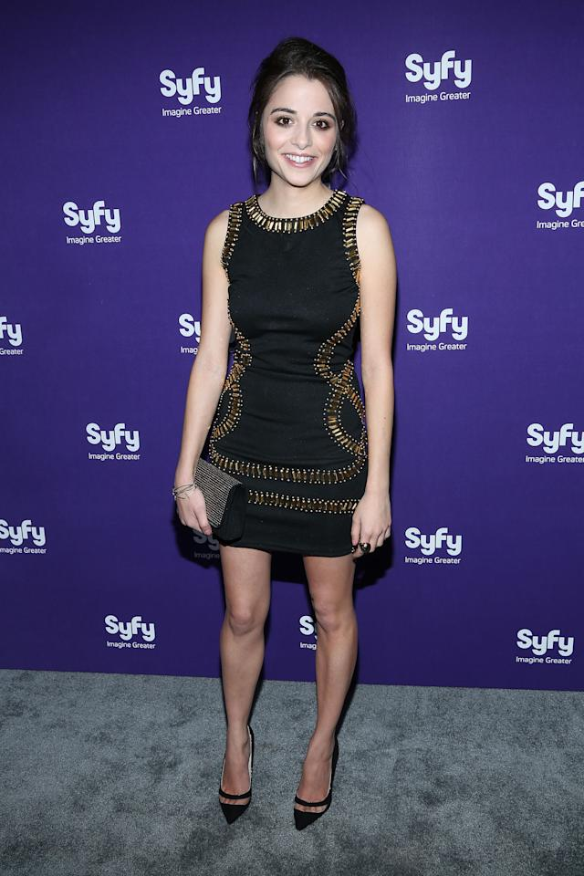 """NEW YORK, NY - APRIL 10:  Stephanie Leonidas of """"Defiance"""" attends Syfy 2013 Upfront at Silver Screen Studios at Chelsea Piers on April 10, 2013 in New York City.  (Photo by Rob Kim/Getty Images)"""