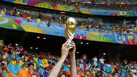 A Netherlands fan holds up a trophy during the 2014 World Cup quarter-finals between Costa Rica and the Netherlands at the Fonte Nova arena