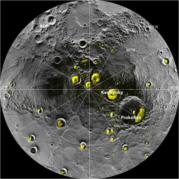 The radar image of Mercury's north polar region from Image 2.1 is shown superposed on a mosaic of MESSENGER images of the same area. All of the larger polar deposits are located on the floors or walls of impact craters. Deposits farther from th