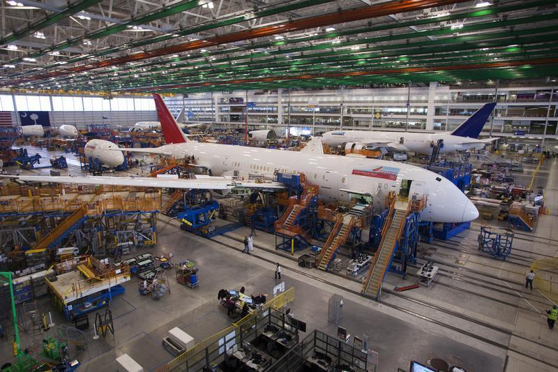 A 787 Dreamliner being built for India Air is pictured at South Carolina Boeing final assembly building in North Charleston