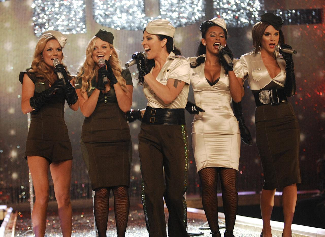 Spice Girls perform during the 12th Annual Victoria's Secret Fashion Show at the Kodak Theater on November 15, 2007 in Los Angeles.  (Photo by Kevin Mazur/WireImage)
