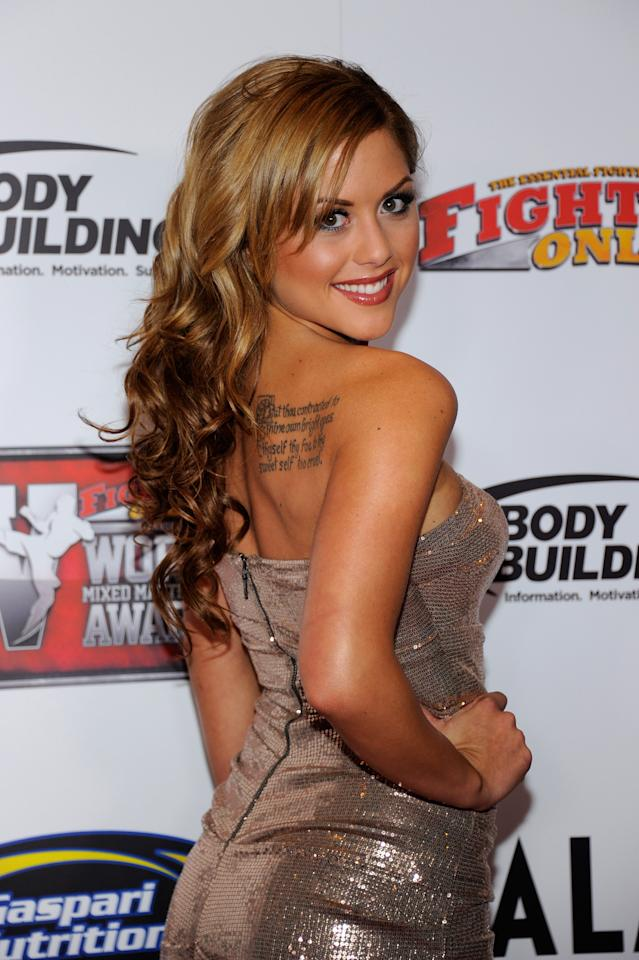 LAS VEGAS, NV - NOVEMBER 30:  Ring girl Brittney Palmer arrives at the Fighters Only World Mixed Martial Arts Awards 2011 at the Palms Casino Resort November 30, 2011 in Las Vegas, Nevada.  (Photo by Ethan Miller/Getty Images)