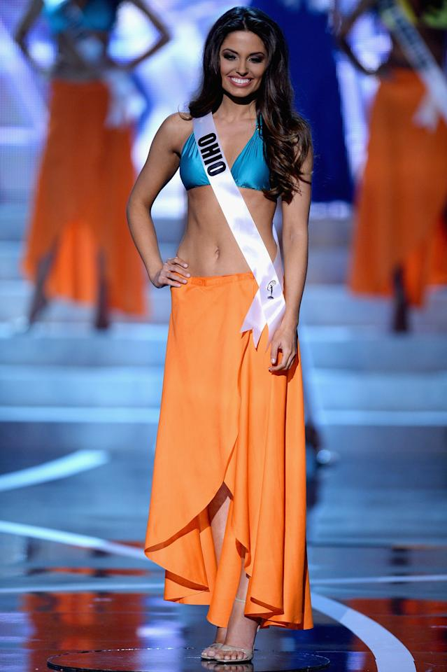 LAS VEGAS, NV - JUNE 16:  Miss Utah USA Marissa Powell competes in the swimwear competition during the 2013 Miss USA pageant at PH Live at Planet Hollywood Resort & Casino on June 16, 2013 in Las Vegas, Nevada.  (Photo by Ethan Miller/Getty Images)