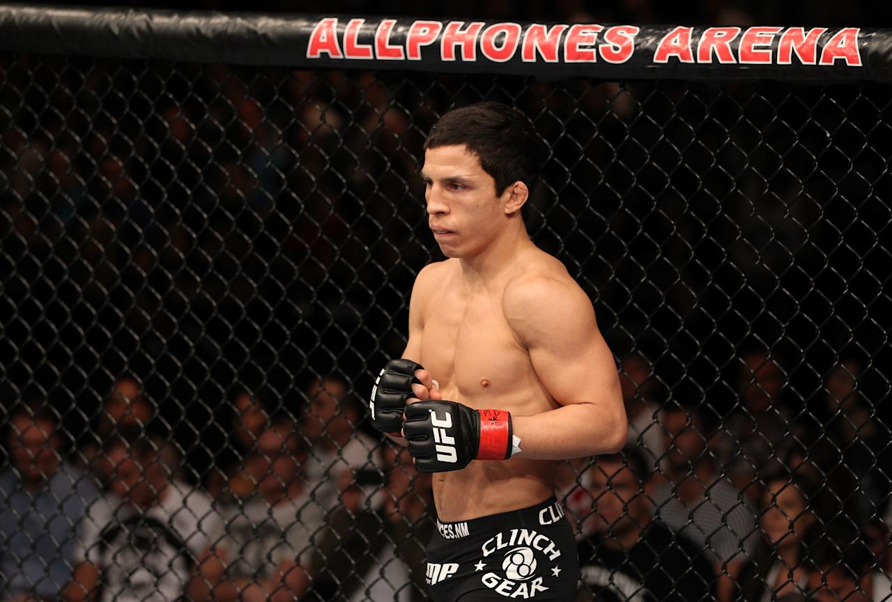 SYDNEY, AUSTRALIA - MARCH 03: Joseph Benavidez stands in the Octagon before his bout against Yasuhiro Urushitani during the UFC on FX event at Allphones Arena on March 3, 2012 in Sydney, Australia. (Photo by Josh Hedges/Zuffa LLC/Zuffa LLC via Getty Images)