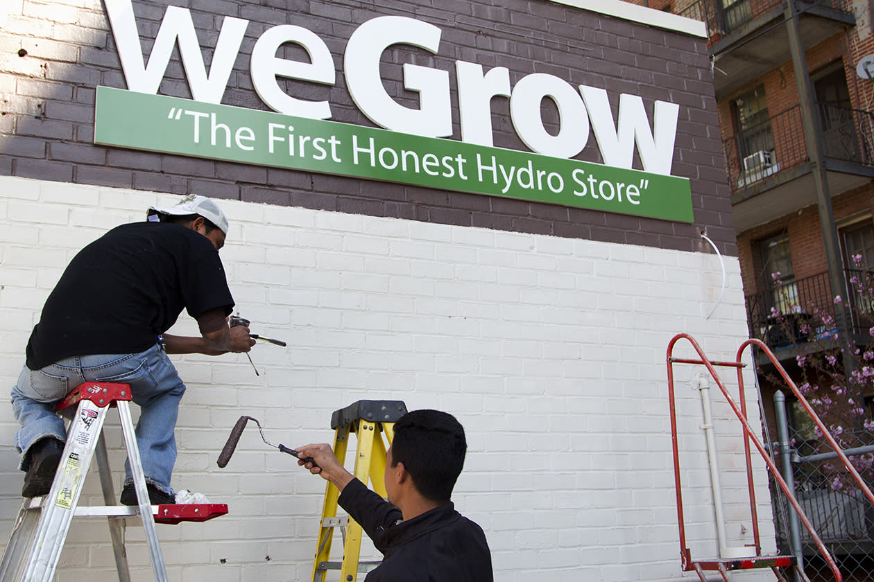 "Workers puts on the finishing touches to WeGrow store in northeast Washington in preparation for its opening. A company dubbed the ""Walmart of Weed"" is putting down roots in America's capital city, sprouting further debate on marijuana _ medical or otherwise. Just a few miles from the White House and federal buildings, a company that candidly caters to medical marijuana growers is opening up its first outlet on the East Coast. The opening of the weGrow store on Friday in Washington coincides with the first concrete step in implementing a city law allowing residents with certain medical conditions to purchase pot."