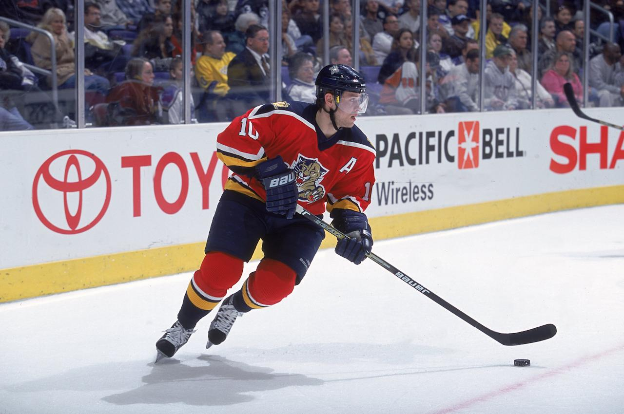 4 Jan 2001: Pavel Bure #10 of the Florida Pathers moves with the puck during the game against the Los Angeles Kings at the STAPLES Center in Los Angeles, California. The Panthers defeated the Kings 4-3.Mandatory Credit: Robert Laberge /Allsport