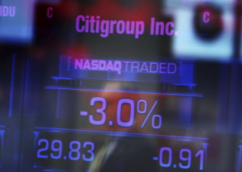Citigroup Inc. stock prices are seen on a screen inside the NASDAQ building at Times Square in New York