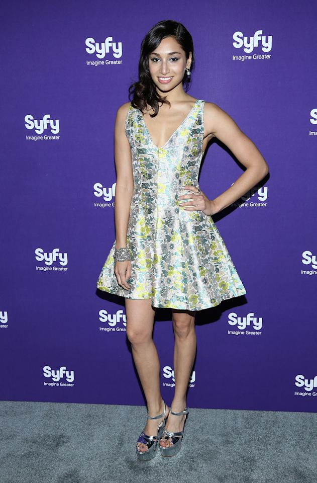"""NEW YORK, NY - APRIL 10:  Meaghan Rath of """"Being Human"""" attends Syfy 2013 Upfront at Silver Screen Studios at Chelsea Piers on April 10, 2013 in New York City.  (Photo by Rob Kim/Getty Images)"""