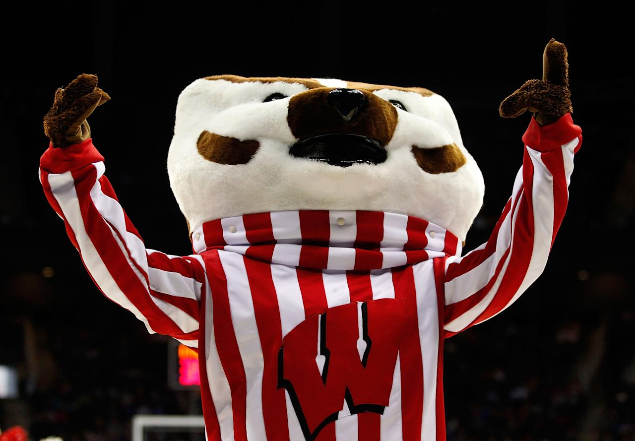 KANSAS CITY, MO - MARCH 22:  Bucky Badger, mascot of the Wisconsin Badgers, performs in the second half against the Ole Miss Rebels during the second round of the 2013 NCAA Men's Basketball Tournament at the Sprint Center on March 22, 2013 in Kansas City, Missouri.  (Photo by Ed Zurga/Getty Images)