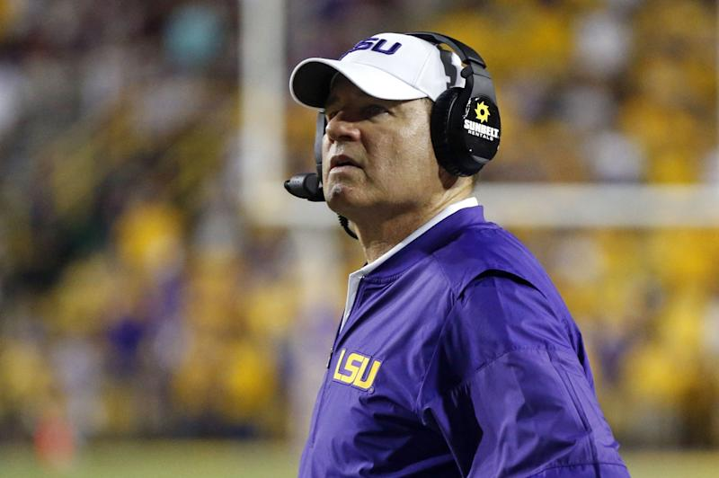 LSU head coach Les Miles watches from the sideline in the second half of an NCAA college football game against Mississippi State in Baton Rouge, La., Saturday, Sept. 17, 2016. LSU win 23-20. (AP Photo/Gerald Herbert)