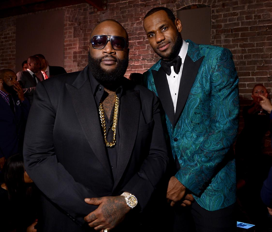 NEW ORLEANS, LA - FEBRUARY 15: Rapper Rick Ross (L) and NBA Player LeBron James attends GQ & LeBron James NBA All Star Party Sponsored By Samsung Galaxy And Beats at Ogden Museum's Patrick F. Taylor Library on February 15, 2014 in New Orleans, Louisiana. (Photo by Michael Loccisano/Getty Images for GQ)