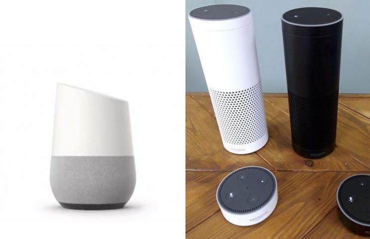 Google Home (L) vs. Amazon Echo