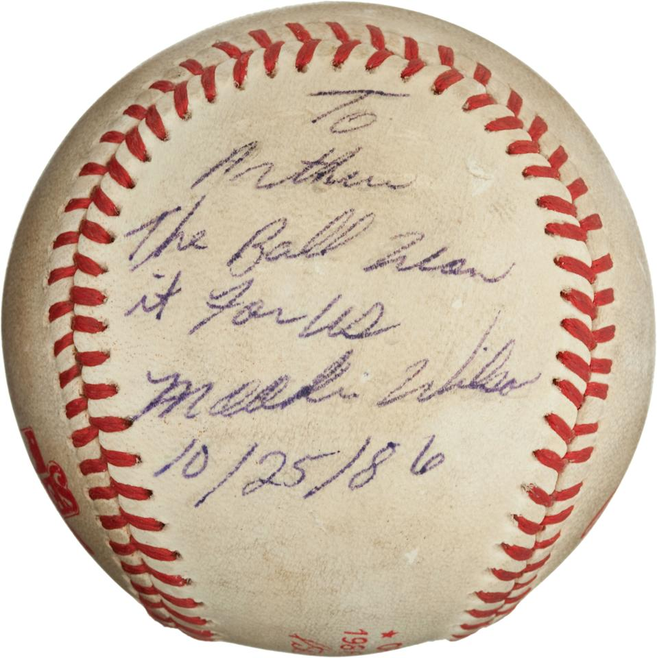 "ADDS THE AMOUNT BALL SOLD FOR $418,250 - This undated image, provided by Heritage Auctions, shows the ""Buckner Ball,"" the baseball that dribbled between the legs of Boston Red Sox first baseman Bill Buckner during the 10th inning of Game 6 of the 1986 World Series. The error gave the New York Mets the win and the team went on to beat the Red Sox the next night to win the World Series. The writing, by Mookie Wilson addressed to Mets traveling secretary Arthur Richman says: To Arthur, the ball won it for us, Mookie Wilson, Oct. 25, 1986. Heritage Auctions said the ball is expected to bring in more than $100,000 on Friday, May 4, 2012, in Dallas. On Friday, the ball sold for $418, 250. (AP Photos/Heritage Auctions)"