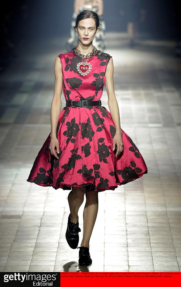 PARIS, FRANCE - FEBRUARY 28:  A model walks the runway at the Lanvin Autumn Winter 2013 fashion show during Paris Fashion Week on February 28, 2013 in Paris, France.  (Photo by Catwalking/Getty Images)