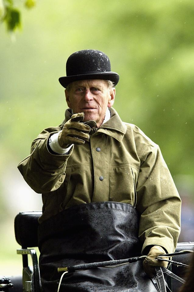 WINDSOR, ENGLAND - MAY 16:  (FILE PHOTO) HRH The Duke of Edinburgh at the dressage event of the International Grand Prix in the Royal Windsor Horse Show on May 16, 2003 at Home Park, Windsor Castle, Windsor, England.  (Photo by Warren Little/Getty Images)  Prince Philip, Duke of Edinburgh is celebrating his 90th birthday on June 10, 2011. Please refer to the following profile on Getty Images Archival for further imagery.  http://www.gettyimages.co.uk/Search/Search.aspx?EventId=92705278&EditorialProduct=Archival AND Further Galleries On Prince Philip - Please View: ***Retrospective set of Prince Philip, Duke of Edinburgh Retrospective set of Prince Philip, Duke of Edinburgh: http://www.gettyimages.co.uk/Account/MediaBin/LightboxDetail.aspx?Id=19147464&MediaBinUserId=5076669 ***Queen & Philip Together http://www.gettyimages.co.uk/Account/MediaBin/LightboxDetail.aspx?Id=14951518&MediaBinUserId=5317233 ***Prince Philip Style http://www.gettyimages.co.uk/Account/MediaBin/LightboxDetail.aspx?Id=19147494&MediaBinUserId=5076669