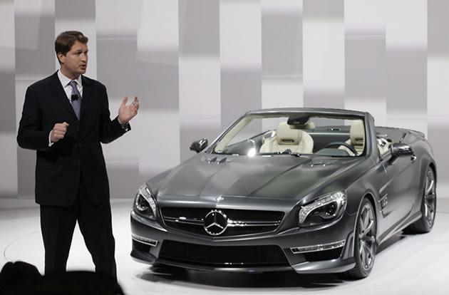 Ola Kallenius, CEO of Mercedes-AMG, discusses a Mercedes SL roadster.