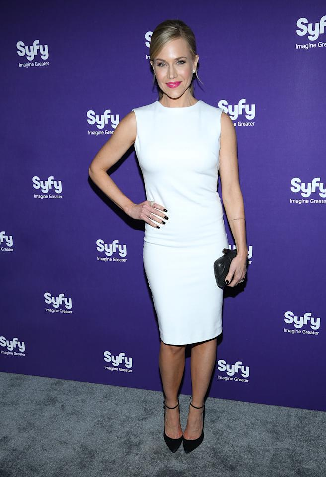 "NEW YORK, NY - APRIL 10:  Julie Benz of ""Defiance"" attends Syfy 2013 Upfront at Silver Screen Studios at Chelsea Piers on April 10, 2013 in New York City.  (Photo by Rob Kim/Getty Images)"
