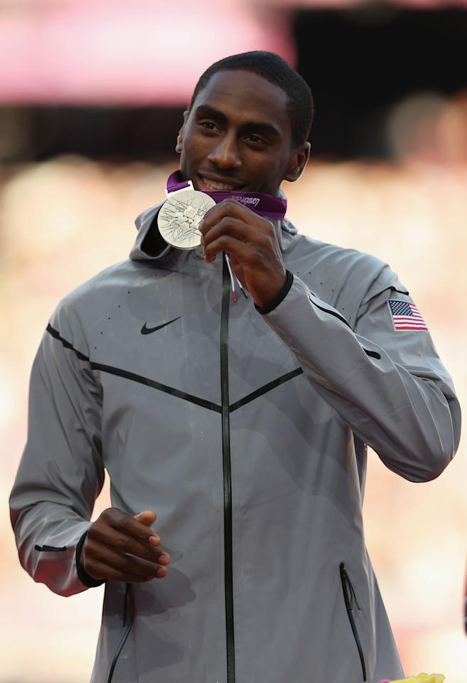 LONDON, ENGLAND - AUGUST 08:  Silver medalist Erik Kynard of the United States poses on the podium during the medal ceremony for the Men's High Jump on Day 12 of the London 2012 Olympic Games at Olympic Stadium on August 8, 2012 in London, England.  (Photo by Quinn Rooney/Getty Images)