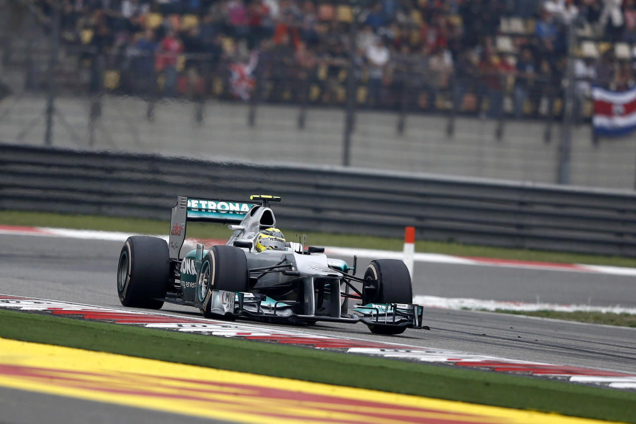 SHANGHAI, CHINA - APRIL 15: Nico Rosberg of Germany and Mercedes GP drives during the Chinese Formula One Grand Prix at Shanghai International Circuit on April 15, 2012 in Shanghai, China.  (Photo by Gu Zhichao/Sports Illustrated China/Getty Images)