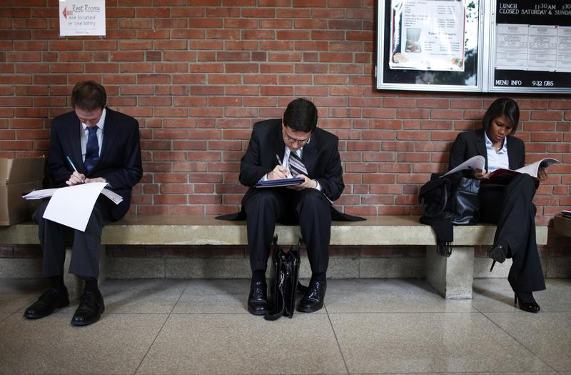 Job seekers prepare for career fair to open at Rutgers University in New Brunswick, New Jersey