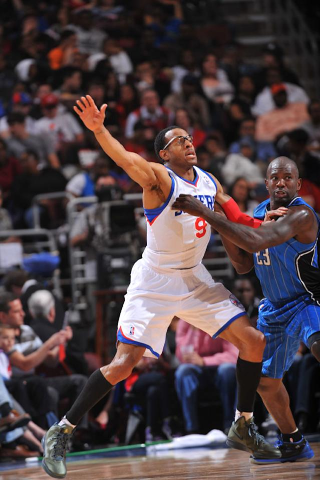 PHILADELPHIA, PA - APRIL 7: Andre Iguodala #9 of the Philadelphia 76ers calls for the ball against Jason Richardson #23 of the Orlando Magic on April 7, 2012 at the Wells Fargo Center in Philadelphia, Pennsylvania.    NOTE TO USER: User expressly acknowledges and agrees that, by downloading and/or using this Photograph, user is consenting to the terms and conditions of the Getty Images License Agreement. Mandatory Copyright Notice: Copyright 2012 NBAE