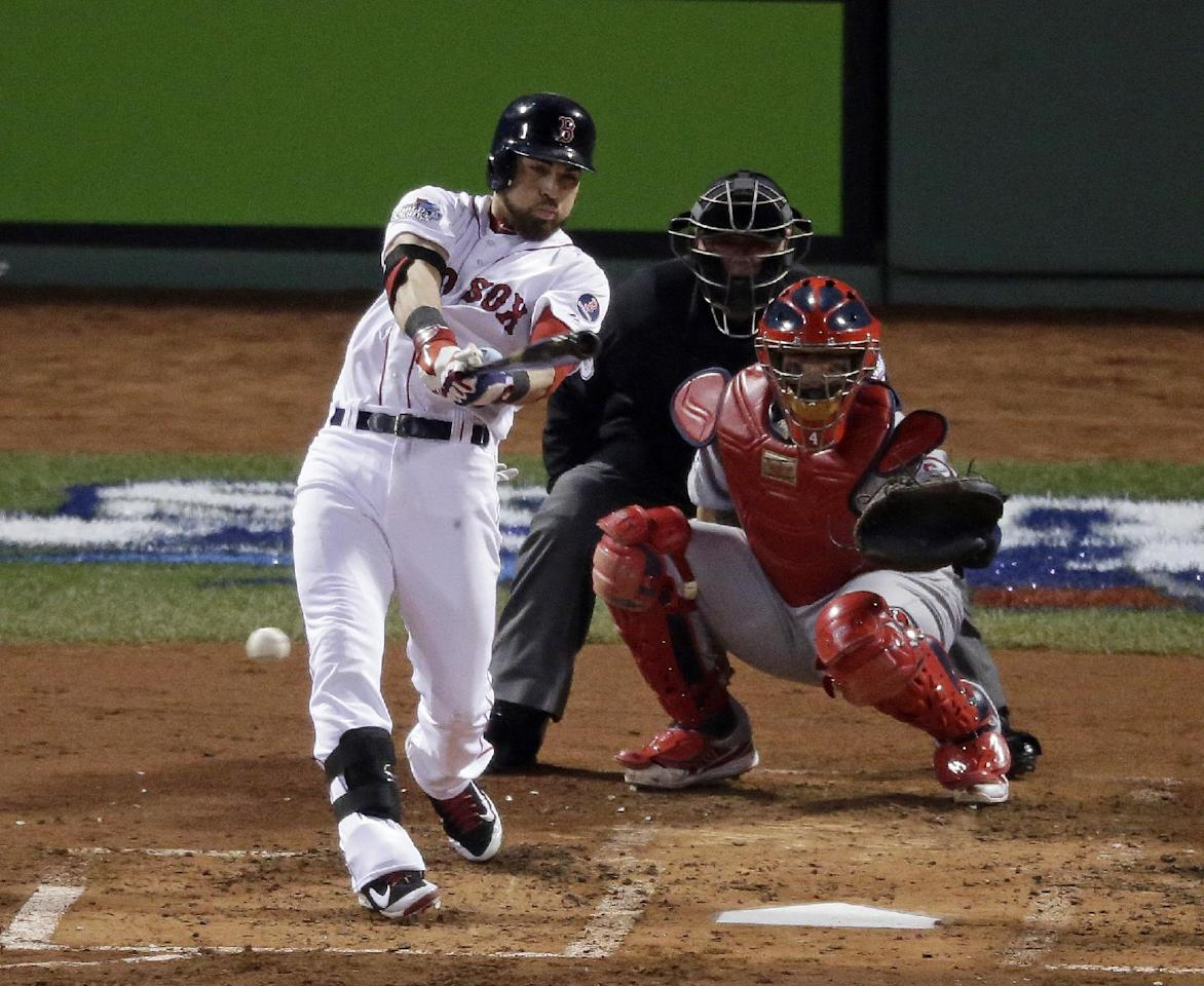 Boston Red Sox's Jacoby Ellsbury hits a single during the third inning of Game 6 of baseball's World Series against the St. Louis Cardinals Wednesday, Oct. 30, 2013, in Boston. (AP Photo/Charlie Riedel)