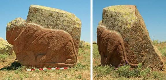 "A life-size granite lion sculpture discovered in the town of Karakiz in Turkey. Dating back more than 3,200 years, to the time of the Hittite Empire, the lion is shown ""prowling forward"" with rippling muscles and a curved tail. In antiquity the"
