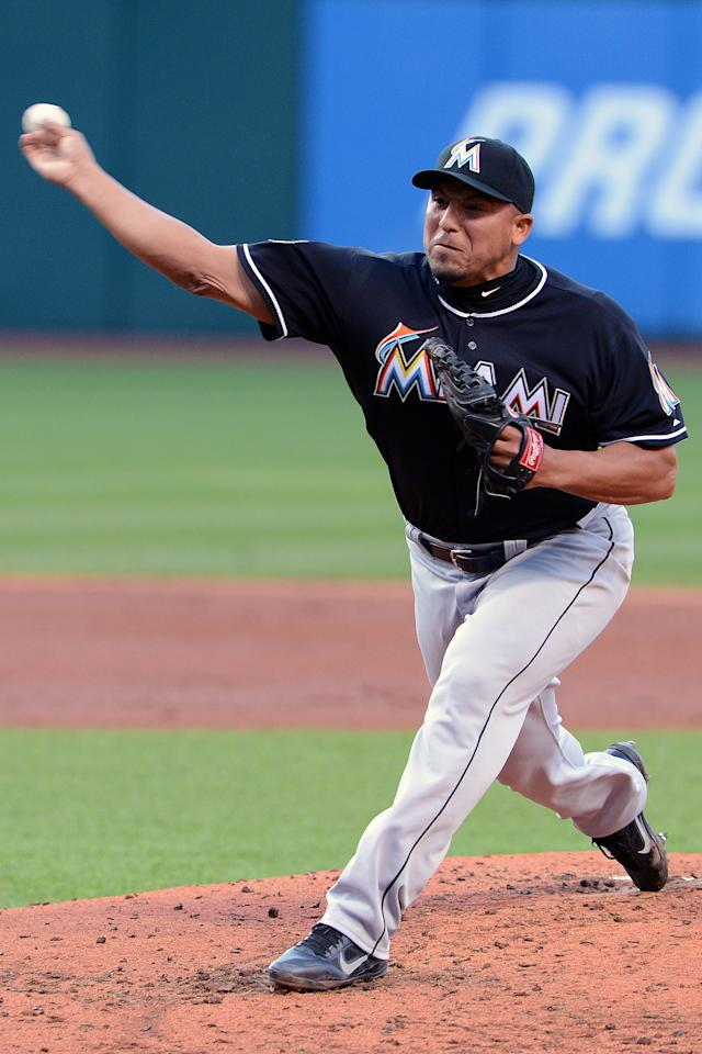 CLEVELAND, OH - MAY 18: Starting pitcher Carlos Zambrano #38 of the Miami Marlins pitches during the second inning against the Cleveland Indians at Progressive Field on May 18, 2012 in Cleveland, Ohio. (Photo by Jason Miller/Getty Images)