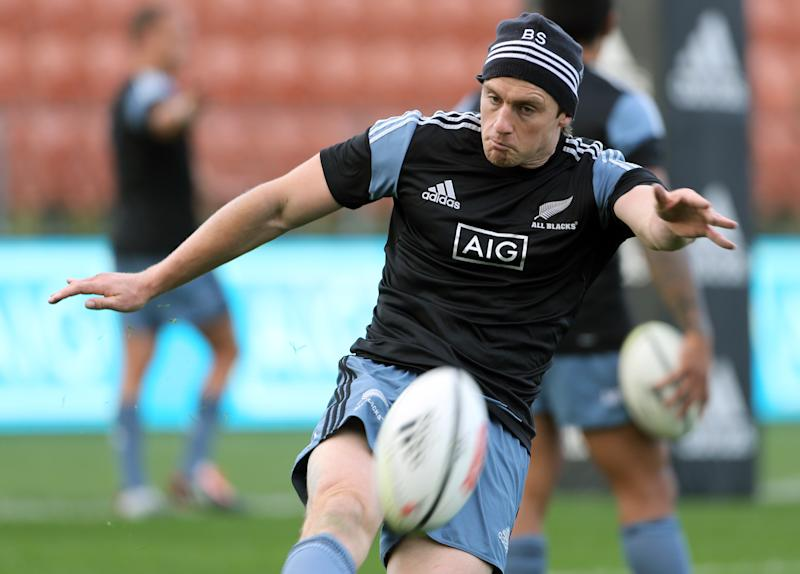 New Zealand All Blacks player Ben Smith kicks a ball during the captains run at Waikato Stadium in Hamilton on June 20, 2014