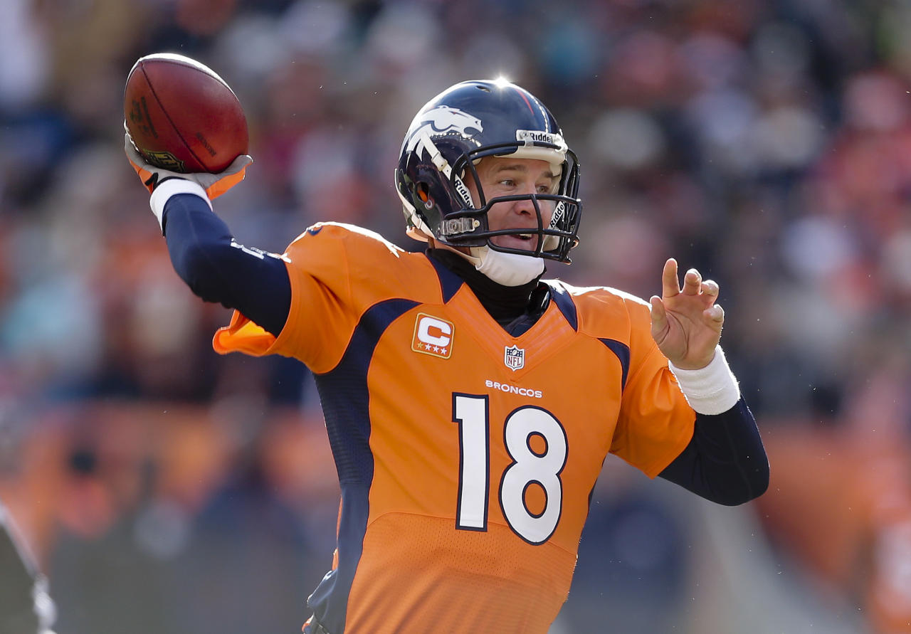 Denver Broncos quarterback Peyton Manning throws a pass in the first quarter of an NFL football game against the Kansas City Chiefs, Sunday, Dec. 30, 2012, in Denver. (AP Photo/Joe Mahoney)