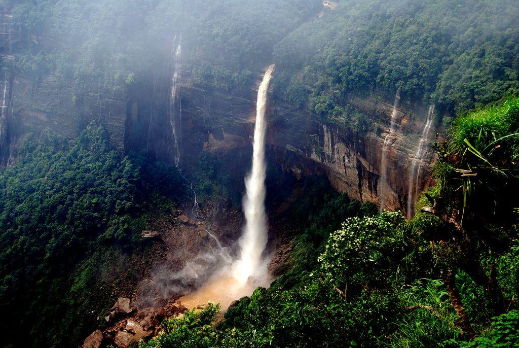 "Nohkalikai Falls, Cherrapunjee, India. Cherrapunjee in India's northeastern state of Meghalaya is notable as the place that receives the highest rainfall in the country. This is also the highest waterfall in India. It plunges 335 metres (1100 feet).<br>by <a target=""_blank"" href=""http://www.flickr.com/photos/10313433@N08/"">Dipak Paul</a>/ Flickr"