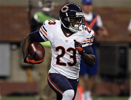 Chicago Bears' Hester carries the ball against the Detroit Lions during their NFL football game in Detroit