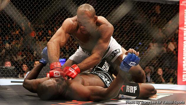 Ronaldo 'Jacare' Souza knocks out Derek Brunson during the Strikeforce event at Valley View Casino Center on August 18, 2012 in San Diego, California.