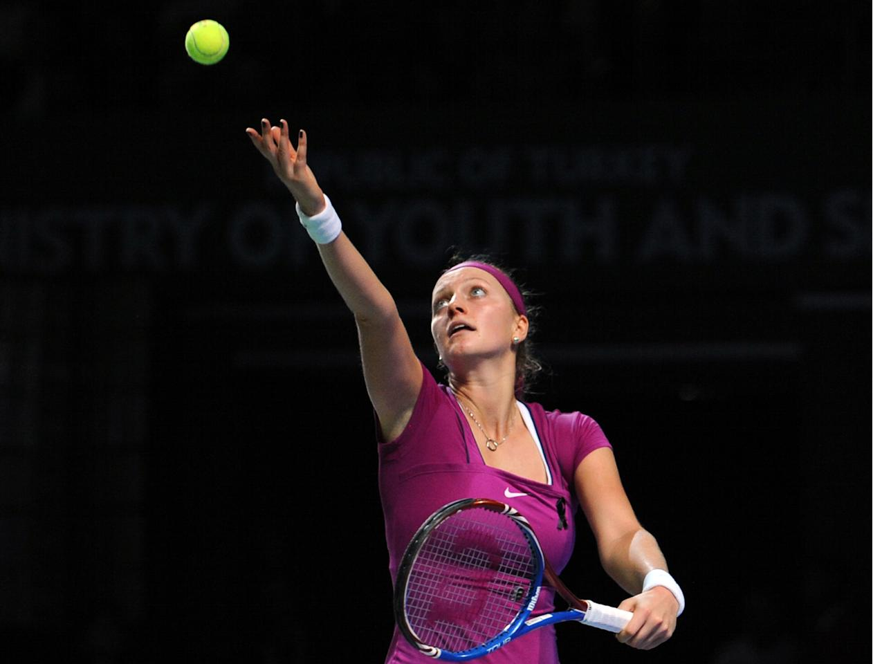 Petra Kvitova of Czech Republic serves to Vera Zvonareva of Russia(not pictured) during their WTA tennis championships match in Istanbul, on October 25, 2011. AFP PHOTO/BULENT KILIC (Photo credit should read BULENT KILIC/AFP/Getty Images)