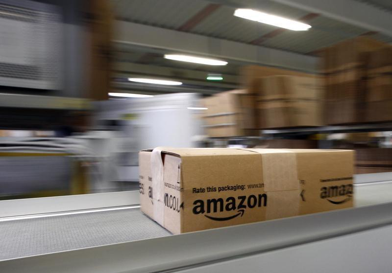 A parcel moves on the conveyor belt at Amazon's logistics centre in Graben