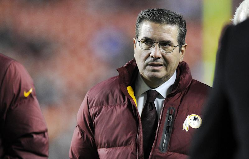"In this Dec. 1, 2013, file photo, Washington Redskins owner Dan Snyder walks off the field before an NFL football game against the New York Giants in Landover, Md. Washington Redskins owner Dan Snyder said Tuesday, April 22, 2014, it's time for people to ""focus on reality"" concerning Native American matters instead of criticizing the team's nickname. Challenged by those who consider the name ""Redskins"" offensive, Snyder and his staff recently traveled to Native American reservations and last month established a foundation to assist American Indian tribes"