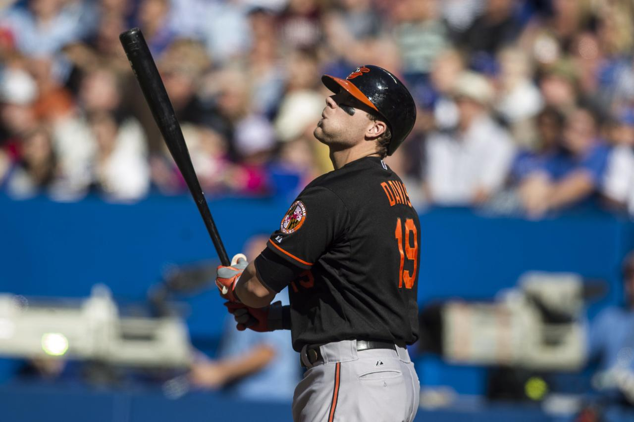 Baltimore Orioles Chris Davis watches the flight of the ball after hitting an RBI double off Toronto Blue Jays starting pitcher Esmil Rogers during the first inning of a baseball game, Saturday, Sept. 14, 2013 in Toronto (AP Photo/The Canadian Press, Chris Young)