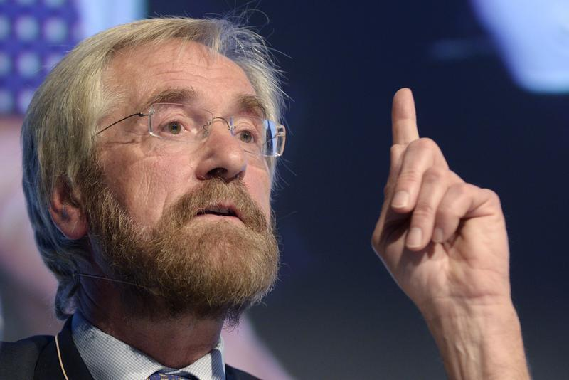 ECB Peter Praet gives a speech during a meeting in Brussels