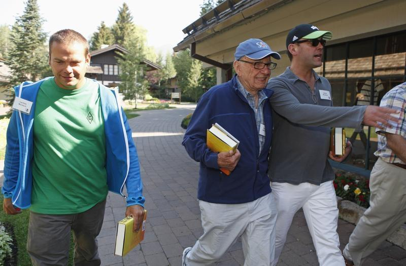 News Corp Chief Executive and Chairman Rupert Murdoch and sons Lachlan and James attend the Allen & Co Media Conference in Sun Valley, Idaho