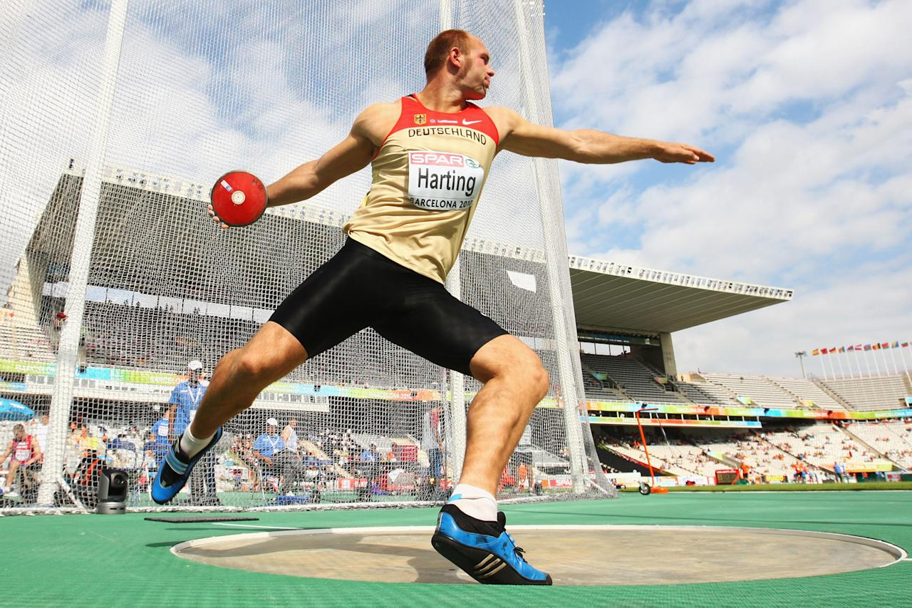 Robert Harting of Germany competes in the Mens Discus Qualifying during day five of the 20th European Athletics Championships at the Olympic Stadium on July 31, 2010 in Barcelona, Spain.