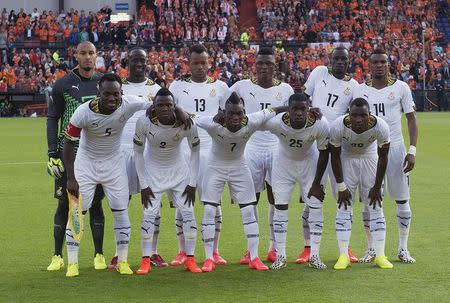 File photo of Ghana's national soccer team posing before a friendly soccer match against Netherlands in Rotterdam