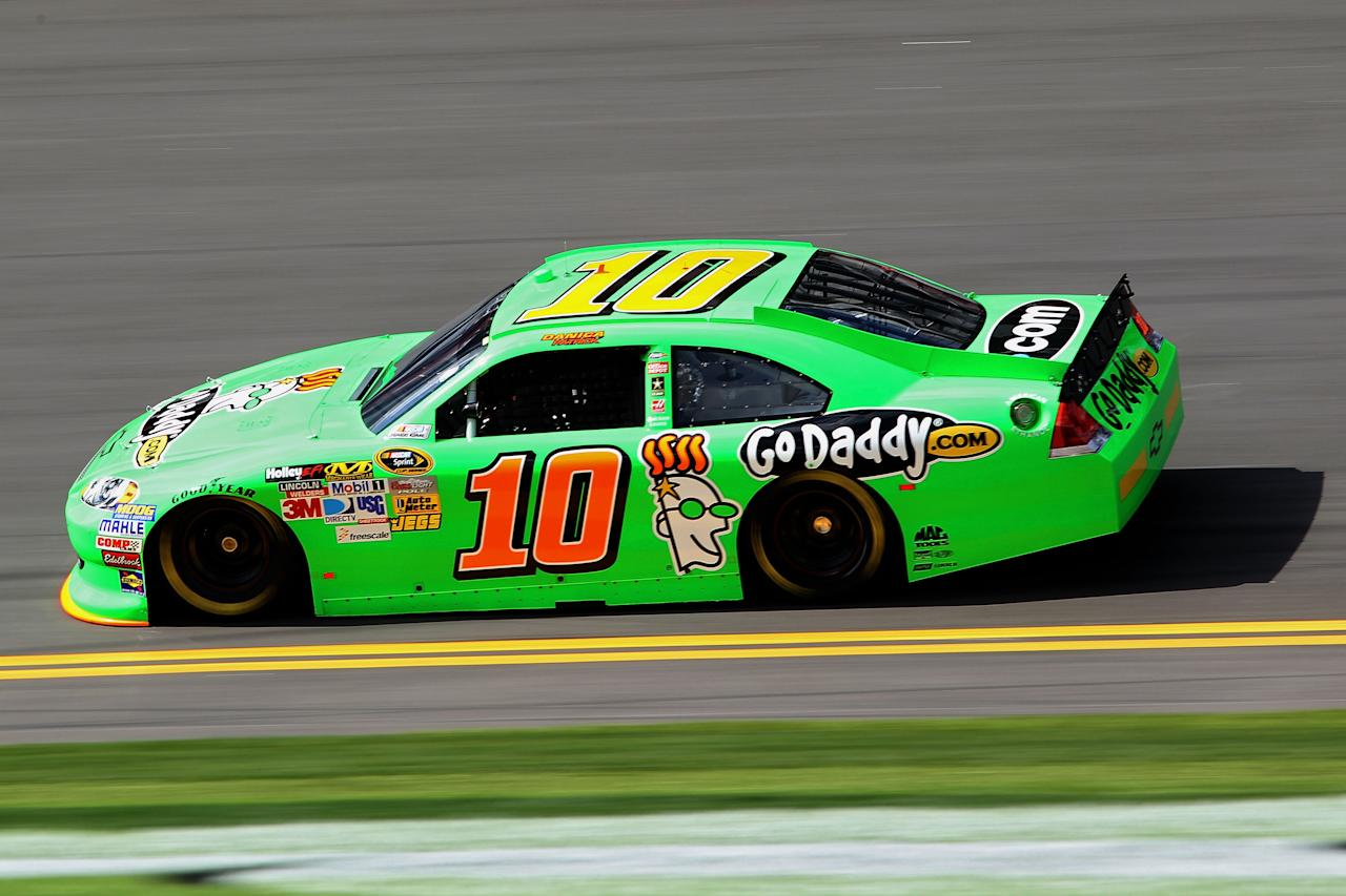 DAYTONA BEACH, FL - FEBRUARY 19:  Danica Patrick, driver of the #10 GoDaddy.com Chevrolet, qualifies for the NASCAR Sprint Cup Series Daytona 500 at Daytona International Speedway on February 19, 2012 in Daytona Beach, Florida.  (Photo by Jamie Squire/Getty Images)