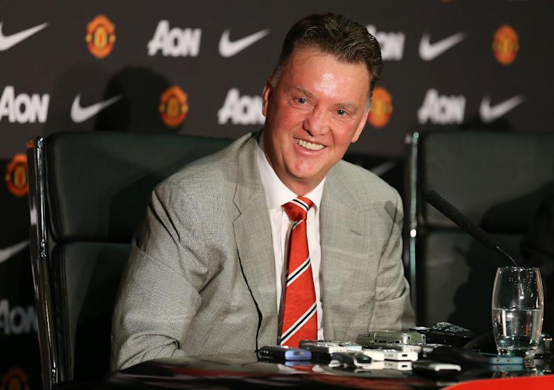 Manchester United's newly-appointed Dutch manager Louis van Gaal addresses a press conference at Old Trafford in Manchester, northwest England, on July 17, 2014