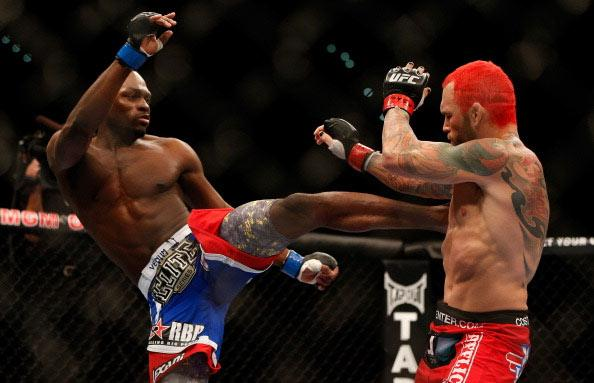 LAS VEGAS, NV - DECEMBER 29: (L-R) Derek Brunson versus Chris Leben during their middleweight fight at UFC 155 on December 29, 2012 at MGM Grand Garden Arena in Las Vegas, Nevada. (Photo by Josh Hedges/Zuffa LLC/Zuffa LLC via Getty Images)