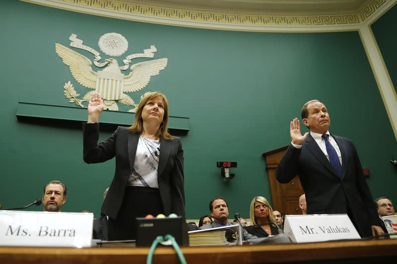Barra and Valukas are sworn in before House Energy and Commerce Oversight and Investigations Subcommittee hearing on Capitol Hill