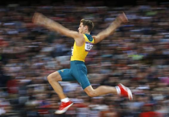 Australia's Henry Frayne competes in the men's long jump final during the London 2012 Olympic Games at the Olympic Stadium August 4, 2012.