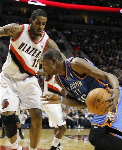 NBA-best Thunder beat Blazers 111-107 in OT