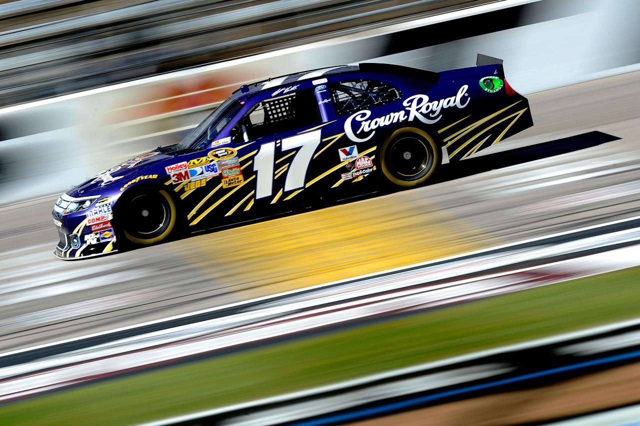 FORT WORTH, TX - NOVEMBER 04:  Matt Kenseth, driver of the #17 Crown Royal Ford, drives on track during practice for the NASCAR Sprint Cup Series AAA Texas 500 at Texas Motor Speedway on November 4, 2011 in Fort Worth, Texas.  (Photo by Jared C. Tilton/Getty Images for NASCAR)