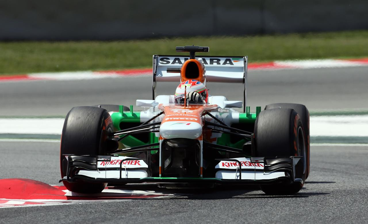 Force India's Paul Di Resta during qualifying at the Circuit de Catalunya, Barcelona.